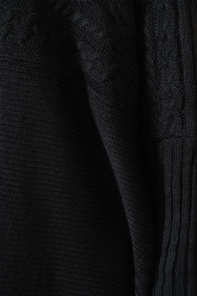 Yırtmaçlı Siyah Triko Panço