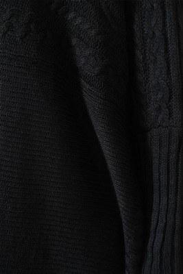Yırtmaçlı Siyah Triko Panço - Thumbnail
